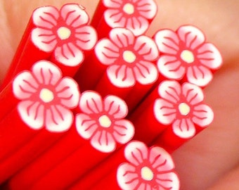Polymer Clay Cane - Red Flower - for Miniature Food / Dessert / Cake / Ice Cream Sundae Decoration and Nail Art CFW027