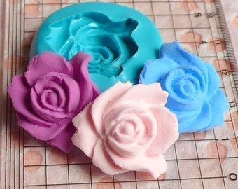 Flower / Rose (24mm) Silicone Flexible Push Mold - Jewelry, Charms, Cupcake (Clay Fimo Premo Casting Resins Soap Gum Paste Fondant) MD584