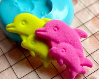 Double Dolphin Mold 18mm Flexible Silicone Mold Animal Mold DIY Jewelry Earrings Scrapbooking Mold Mini Cupcake Topper Polymer Clay MD463