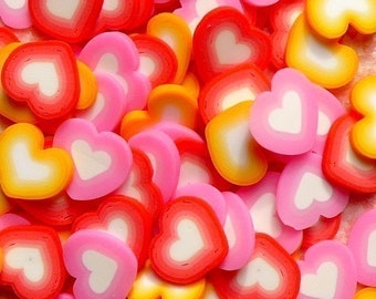 Polymer Clay Cane Heart Assorted Mix Red Pink Orange Fimo Cane Slices Sweets Deco Kawaii Cupcake Nail Art Decoration (75pcs) CMX006