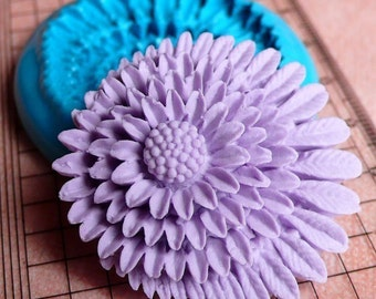 Chrysanthemum Mold w/ Leaves 39mm Flower Mold Flexible Silicone Mold Brooch Mold Resin Wax Mold Fondant Mold Cupcake Topper Gumpaste MD740