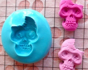 Halloween Mold Skeleton Mold Skull 18mm Flexible Silicone Mold Jewelry Cabochon Charms Fimo Polymer Clay Resin Fondant Gum Paste Mold MD674