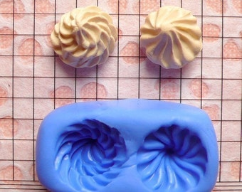 Whipped Cream (2 pcs) (14mm) Silicone Mold Flexible Mold - Miniature Food, Cupcake, Jewelry Charms (Resin Clay Fimo Gum Paste Fondant) MD653