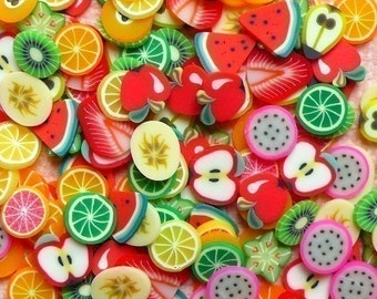 Fimo Fruits Polymer Clay Cane Slices Mix Kawaii Miniature Sweets Decoden Scrapbooking Nail Art Decoration (150pcs) CMX002