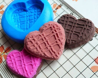 Flexible Mold Silicone Mold - Heart Cookie / Biscuit (24mm) Miniature Food, Sweets, Jewelry, Charms (Clay, Fimo, Resin, Fondant) MD200
