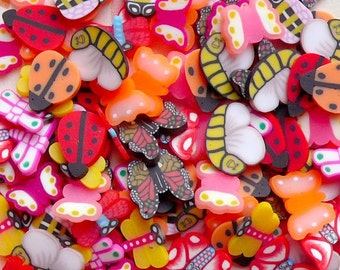 Polymer Clay Cane Butterfly Dragonfly Beetle Fimo Slices Mix 12designs Deco Kawaii Fimo Cane Nail Art Decoration (120pcs) (by random) CMX016
