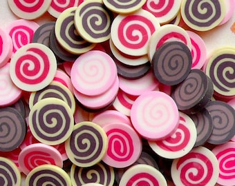 Fimo Cake Cane Polymer Clay Cane Chocolate Strawberry Swiss Roll Polymer Clay Slices Mix Mini Sweets Nail Art Decoration (75 pcs) CMX013