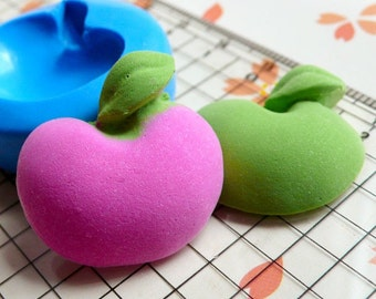 Apple Mold 24mm Flexible Silicone Mold Kawaii Miniature Fruit Cabochon DIY Jewelry Charms Polymer Clay Fimo Resin Mini Fondant Mold MD386