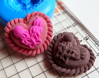 Heart Cake with Decorative Border (22mm) Silicone Flexible Push Mold - Miniature Food Sweets Jewelry Charms (Clay Fimo Resin Fondant) MD660