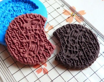 Round Bitten Cookie / Biscuit (28mm) Silicone Flexible Push Mold Miniature Food Sweets Jewelry Charms (Clay Fimo Wax Resin Fondant) MD819