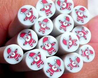 Polymer Clay Christmas Cane - Christmas Santa Claus Cane - Nail Deco Scrapbooking Christmas Fimo Cane Miniature Faux  Earrings CCH14