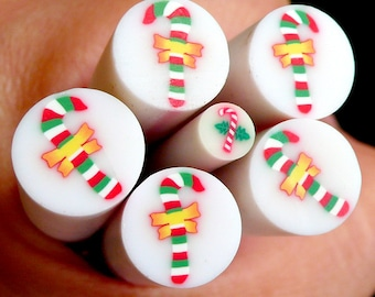 Christmas Candy Stick Polymer Clay Cane Fimo Cane (LARGE/BIG)  Scrapbooking Decoration BC31