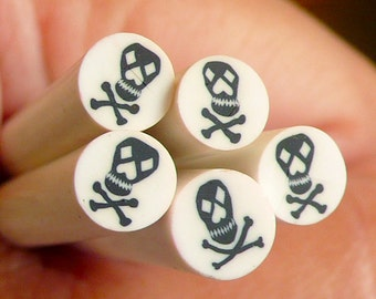 Halloween Fimo Cane Black and White Skeleton / Skull Polymer Clay Cane with Crossbones Nail Art Deco Nail Decoration Scrapbooking CE015