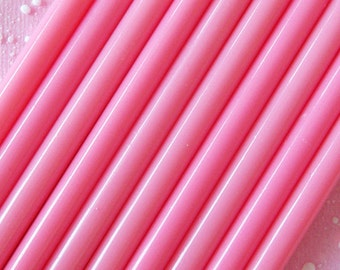 Strawberry Deco Sauce / Pink Color Opaque Glue Sticks (10 pcs) - Miniature Sweets Ice Cream Cupcake Whipped Cream Cell Phone Deco DS102