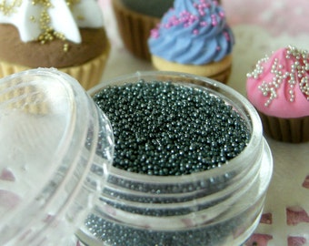Nail Caviar Beads Dollhouse Candy Sprinkles Miniature Sugar Balls Dragees Fake Toppings (Hematite Grey Metal Gray / 7g) Glitter Roots SPK25