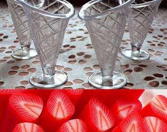 Miniature Dollhouse Food Jewelry / Ice Cream Sundae Parfait Cups (4pcs / 32mm x 50mm) + Strawberry Clay Cane (25mm) Fake Sweets Craft MC06