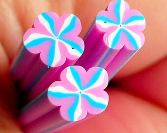 Pink and Blue Flower Polymer Clay Cane Fake Miniature Food Sweets Decoration Nail Art Nail Deco Scrapbooking CFW024