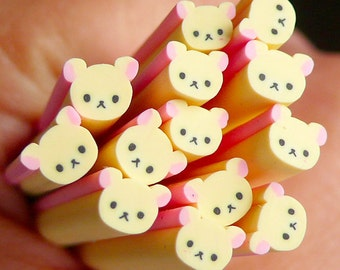Bear Polymer Clay Cane Animal Fimo Cane Kawaii Nail Art Nail Deco Nail Decoration Scrapbooking Earrings Making CAN036