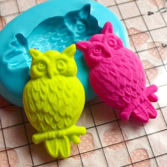 Owl (24mm) Silicone Flexible Push Mold - Miniature Food, Sweets, Jewelry, Charms (Resin, Paper Clay, Fimo, Gum Paste, Candy, Fondant) MD456