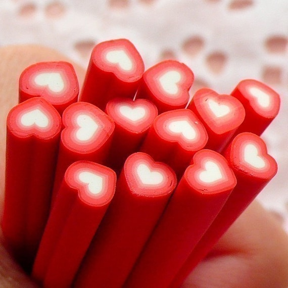 Red Heart Fimo Cane Love Polymer Clay Cane (Cane or Slices) Valentines Day Decor Card Embellishment Wedding Supplies Tiny Table Scatter CH01