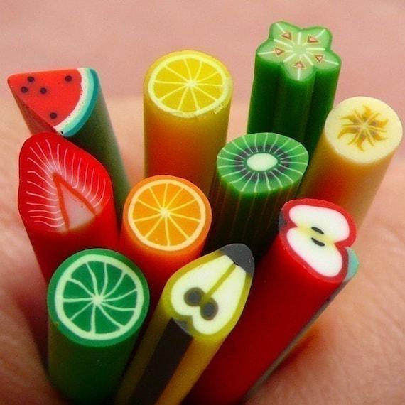 Polymer Clay Cane Fruit Assorted Canes Mix 10 pcs 2.5cm Long Mini Miniature Sweets Deco Kawaii Cupcake Fruit Tart Fimo Cane Nail Art  CMX039