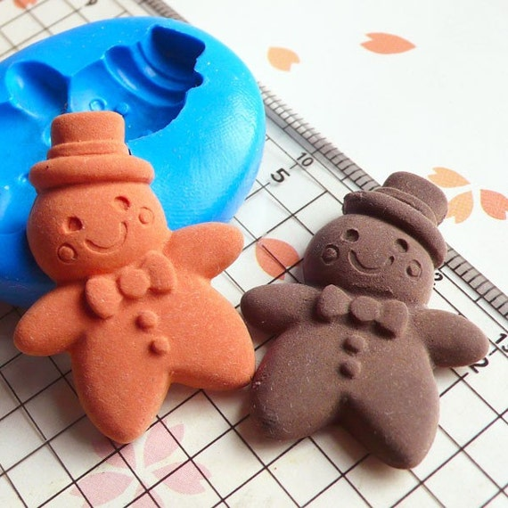 Gingerbread Man with Hat (32mm) Silicone Mold Flexible Mold - Miniature Food, Sweets, Jewelry, Charms (Clay Fimo Resin Wax Gum Paste) MD270