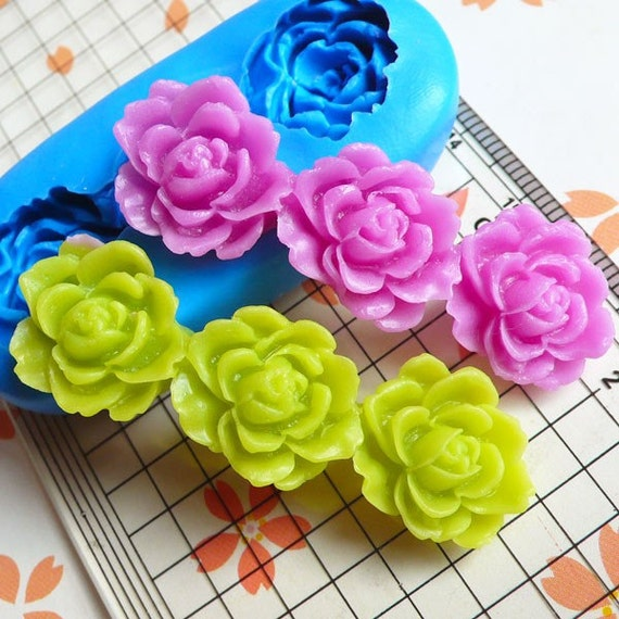 Vintage Flower / Rose Barrette (52mm) Silicone Flexible Push Mold - Miniature Food, Sweets, Jewelry, Charms (Clay Fimo Epoxy GumPaste) MD620