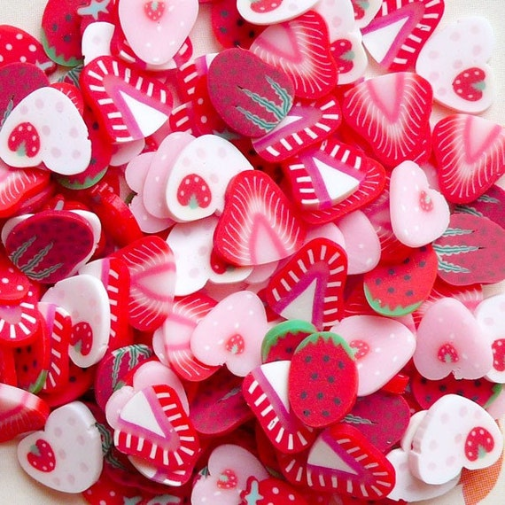 Polymer Strawberry Clay Fimo Clay Cane Slices Mix Miniature Sweets Scrapbooking Kawaii Fimo Fruit Nail Art Decoden (140pcs by RANDOM) CMX010