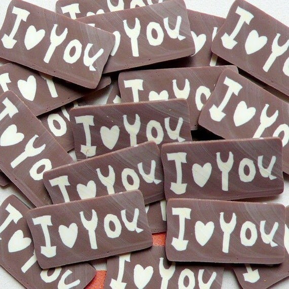 Polymer Clay Cane I Love You Fimo Chocolate Tag Slices (BIG/LARGE) Mini Food Dessert Cake Ice Cream Sundae Deco and Nail Art (20 pcs) CMX036