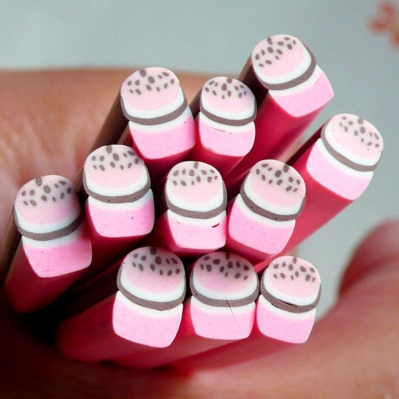 Polymer Clay Cane - Sweets - Strawberry Cupcake / Muffin - Miniature Food / Dessert / Cake / Ice Cream Sundae Decoration and Nail Art CSW012