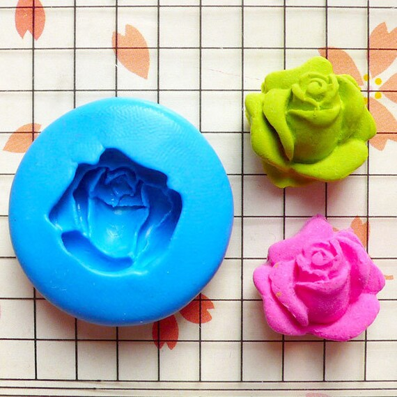 Rose / Flower (16mm) Silicone Flexible Push Mold - Jewelry, Charms, Cupcake (Clay, Fimo, Casting Resin, Wax, Soap, Gum Paste, Fondant) MD773
