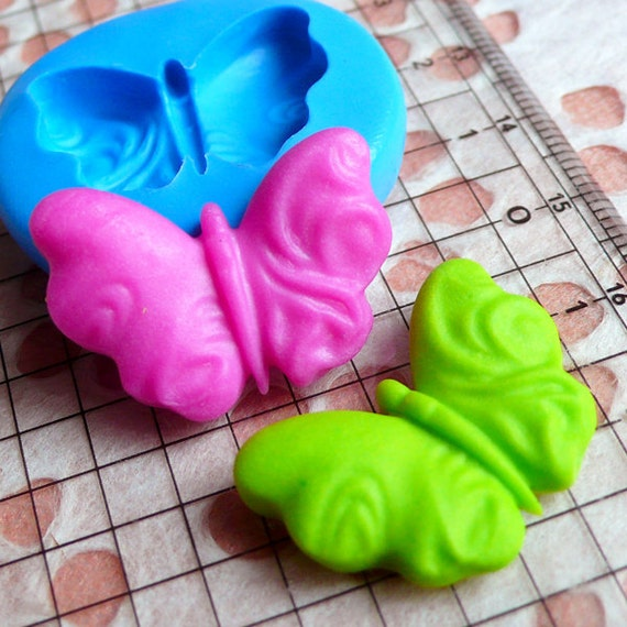 Butterfly Fondant Mold 25mm Flexible Silicone Mold Gumpaste Cupcake Topper Chocolate Mold DIY Jewelry Cabochon Fimo Polymer Clay Resin MD410
