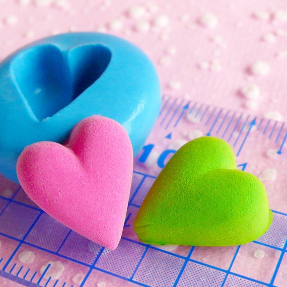 Puffy Heart Mold 14mm Flexible Silicone Mold DIY Jewelry Earrings Mold Kawaii Scrapbooking Fondant Gumpaste Valentine Chocolate Mold MD505