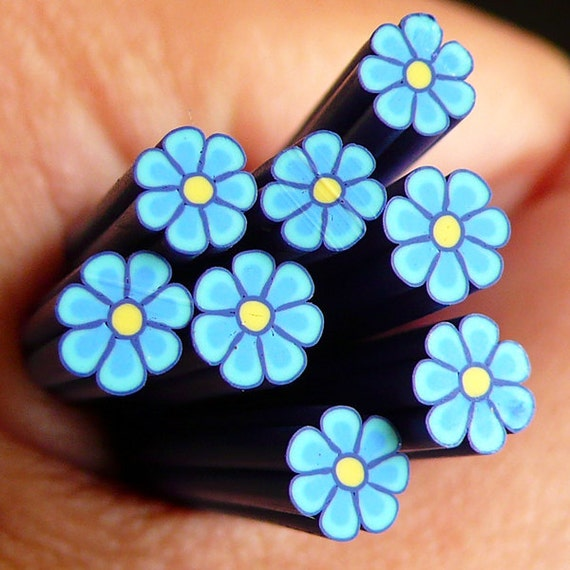 Dark Blue Flower Polymer Clay Flower Cane Fimo Cane Nail Art Decoration Scrapbooking Miniature Faux Cupcake Topper Jewelry CFW038