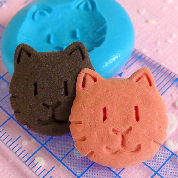 Cat Biscuit Mold Animal Cookie Mold 19mm Flexible Silicone Mold Miniature Sweets Kawaii Deco Charms Polymer Clay Fimo Resin Push Mold MD165