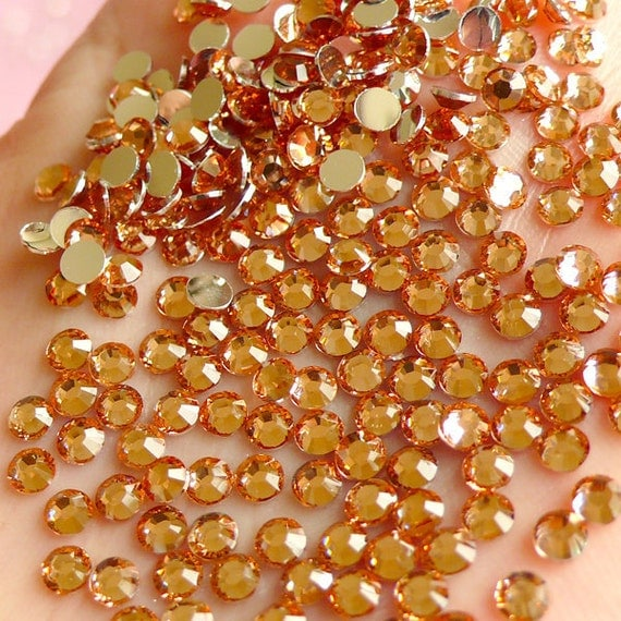 3mm Resin Rhinestones / 14 Faceted Cut Round Rhinestones (Champagne Rose) (Around 200pcs) Much Better Quality Than Acrylic  RH.316