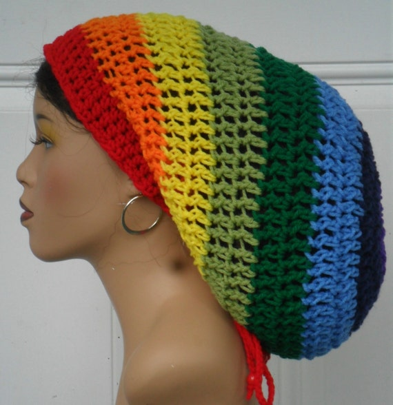 Rock the Rainbow Unisex Crochet Rasta Mega Tam Cap by ...