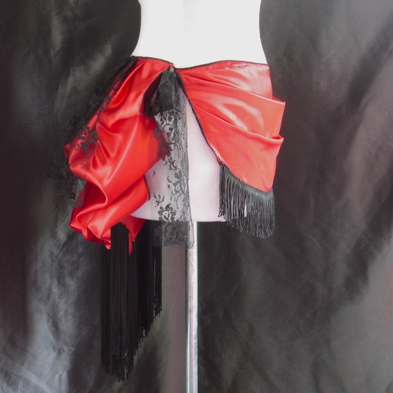Reserved-Red Satin Front Drape Bustle Belt with Lace Ruffles and Fringe- M