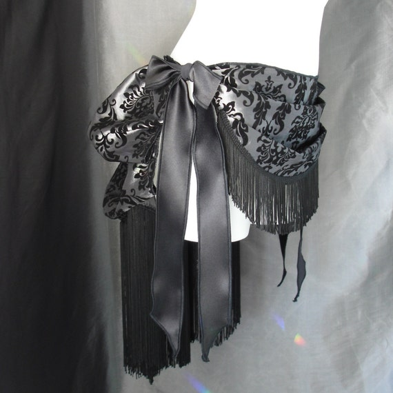 Grey Front Drape Burlesque Bustle with Fringe- many sizes and colors available