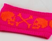 double knitted Headband Skulls - neon pink and orange