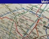 Sale-Paris subway map cut linen