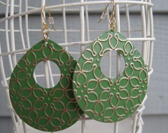 Green Metal Earrings with gold floral design