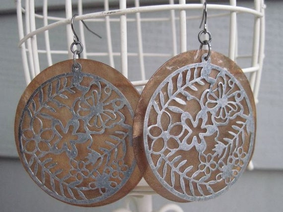 Brown Capiz Shell with Silver Filigree earrings