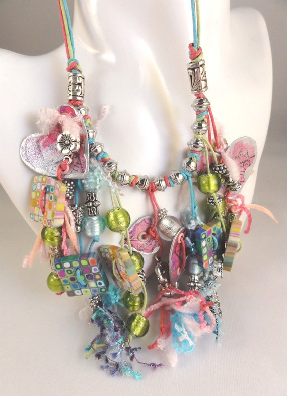 Necklace with polymer clay and paper charms