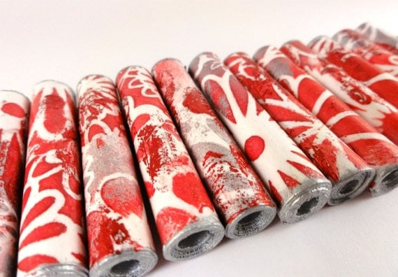 Red foiled handmade paper beads