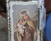 Blessed Virgin Mary with Scapular Stained Glass Holy Card Devotional