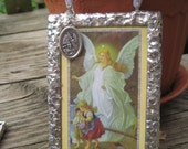 Guardian Angel Stained Glass Holy Card  Childrens Devotional