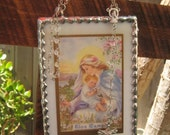 God Mother Gift Field Flos Campi Song Of Songs  Vintage Stained Glass Holy Card Keepsake can personlize