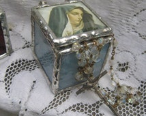 Our Lady of Sorrows Sorrowful Mother Blue Gothic Boho Chic Stained Glass Prayer Rosary Box