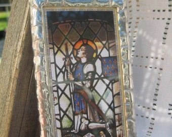 Patron Saint Joan of Arc  Stained Glass Holy Card